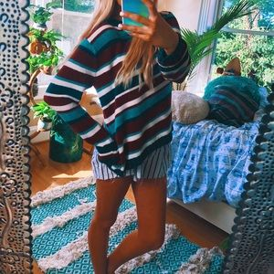 chenille stranger things vibes striped 90s sweater